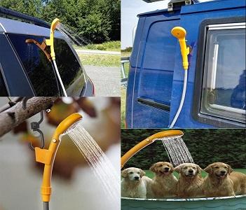 comprar LIEBMAYA 12V Alcachofa Ducha Pistola Rociadora Portátil Auto Jardín Perro ideal para el camping, el coche o lavar al perro